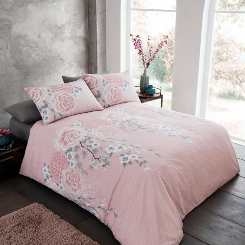 Catherine Lansfield Oriental Blossom Blush Bedding Set